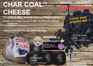 Char Coal Cheddar - Pasteurised Cow's Milk, Suitable For Vegetarians